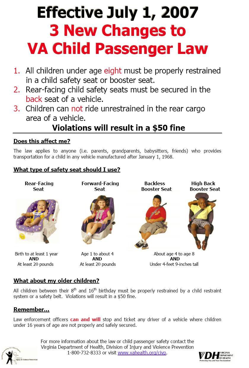 Virginia Dmv Child Car Seat Laws